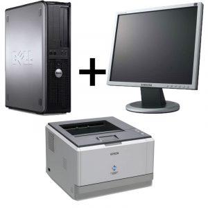 Pachet Calculator Dell Optiplex 360DT, Core2Duo E7500+Monitor 17 inch+Imprimanta laser Epson M2000