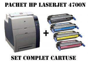 Imprimanta color HP Laserjet 4700N+Set cartuse compatibile noi